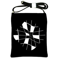 Black and white abstract flower Shoulder Sling Bags