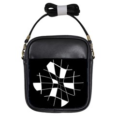 Black and white abstract flower Girls Sling Bags