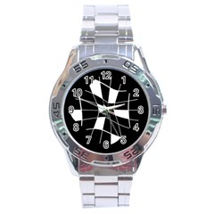 Black and white abstract flower Stainless Steel Analogue Watch