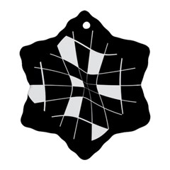 Black and white abstract flower Snowflake Ornament (2-Side)