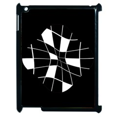 Black and white abstract flower Apple iPad 2 Case (Black)