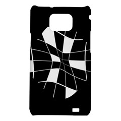 Black and white abstract flower Samsung Galaxy S2 i9100 Hardshell Case