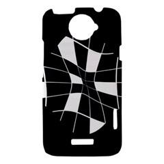 Black and white abstract flower HTC One X Hardshell Case