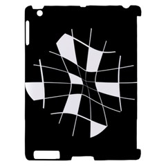 Black and white abstract flower Apple iPad 2 Hardshell Case (Compatible with Smart Cover)