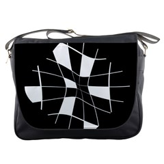 Black and white abstract flower Messenger Bags