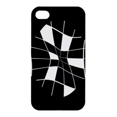 Black and white abstract flower Apple iPhone 4/4S Premium Hardshell Case