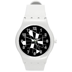 Black and white abstract flower Round Plastic Sport Watch (M)