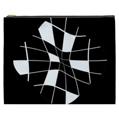 Black and white abstract flower Cosmetic Bag (XXXL)
