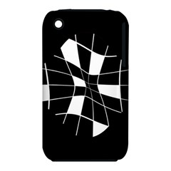 Black and white abstract flower Apple iPhone 3G/3GS Hardshell Case (PC+Silicone)