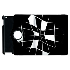 Black and white abstract flower Apple iPad 3/4 Flip 360 Case