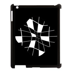 Black and white abstract flower Apple iPad 3/4 Case (Black)