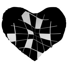 Black and white abstract flower Large 19  Premium Heart Shape Cushions