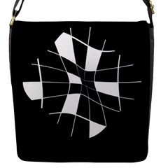 Black and white abstract flower Flap Messenger Bag (S)