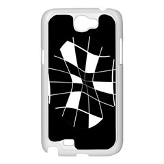 Black and white abstract flower Samsung Galaxy Note 2 Case (White)
