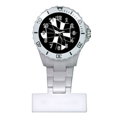 Black and white abstract flower Plastic Nurses Watch