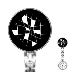 Black and white abstract flower Stainless Steel Nurses Watch