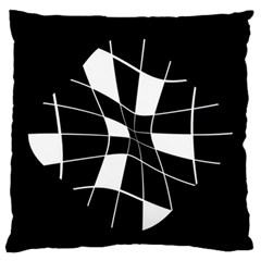 Black and white abstract flower Standard Flano Cushion Case (One Side)