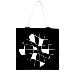 Black and white abstract flower Grocery Light Tote Bag