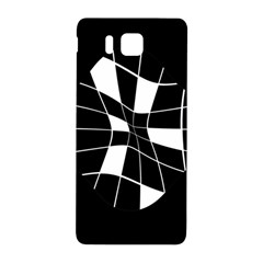 Black and white abstract flower Samsung Galaxy Alpha Hardshell Back Case