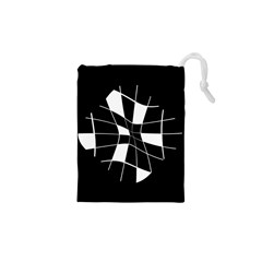 Black and white abstract flower Drawstring Pouches (XS)