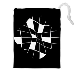 Black and white abstract flower Drawstring Pouches (XXL)