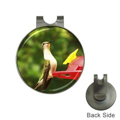 Female Ruby Throated Hummngbird Hat Clips with Golf Markers