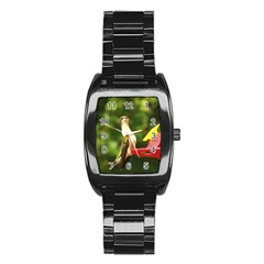 Female Ruby Throated Hummngbird Stainless Steel Barrel Watch