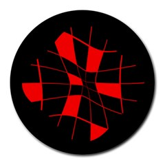 Red abstract flower Round Mousepads