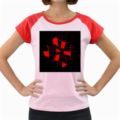 Red abstract flower Women s Cap Sleeve T-Shirt