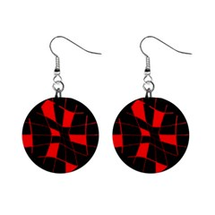 Red abstract flower Mini Button Earrings