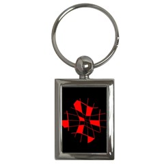 Red abstract flower Key Chains (Rectangle)