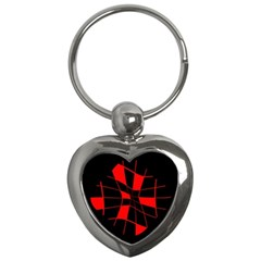 Red abstract flower Key Chains (Heart)