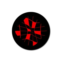 Red abstract flower Rubber Coaster (Round)