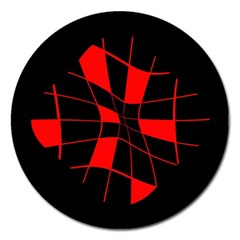 Red abstract flower Magnet 5  (Round)