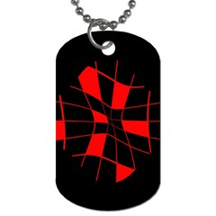 Red abstract flower Dog Tag (One Side)