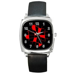 Red abstract flower Square Metal Watch