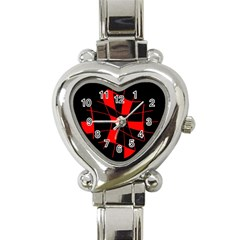 Red abstract flower Heart Italian Charm Watch