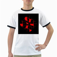 Red abstract flower Ringer T-Shirts