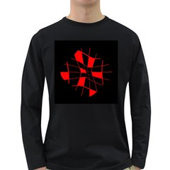 Red abstract flower Long Sleeve Dark T-Shirts