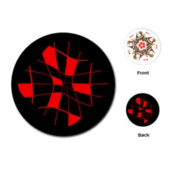 Red abstract flower Playing Cards (Round)