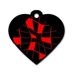 Red abstract flower Dog Tag Heart (One Side)