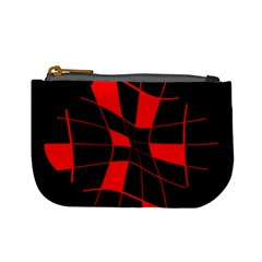 Red abstract flower Mini Coin Purses