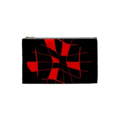 Red abstract flower Cosmetic Bag (Small)
