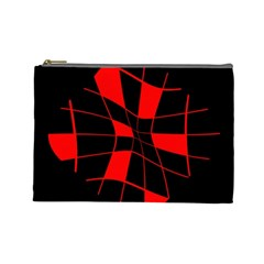 Red abstract flower Cosmetic Bag (Large)