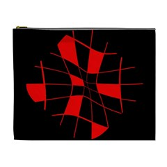 Red abstract flower Cosmetic Bag (XL)