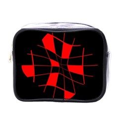 Red abstract flower Mini Toiletries Bags