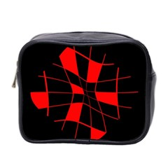 Red abstract flower Mini Toiletries Bag 2-Side