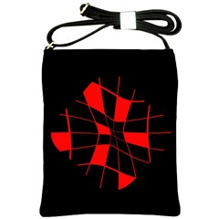 Red abstract flower Shoulder Sling Bags