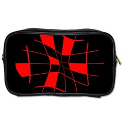 Red abstract flower Toiletries Bags