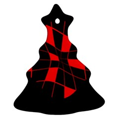 Red abstract flower Christmas Tree Ornament (2 Sides)